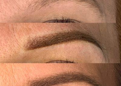 Brak makijażu/brwi bezpośrednio po zabiegu/brwi wygojone