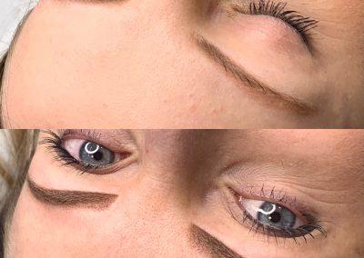 Na górze stary makijaż permanentny wykonany w innym salonie, na dole ombre bezpośrednio po zabiegu